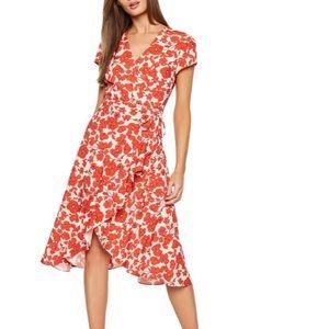 Bardot Fiesta Floral Poppy Faux Wrap Midi Dress